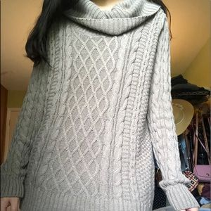brown turtleneck cable knit sweater